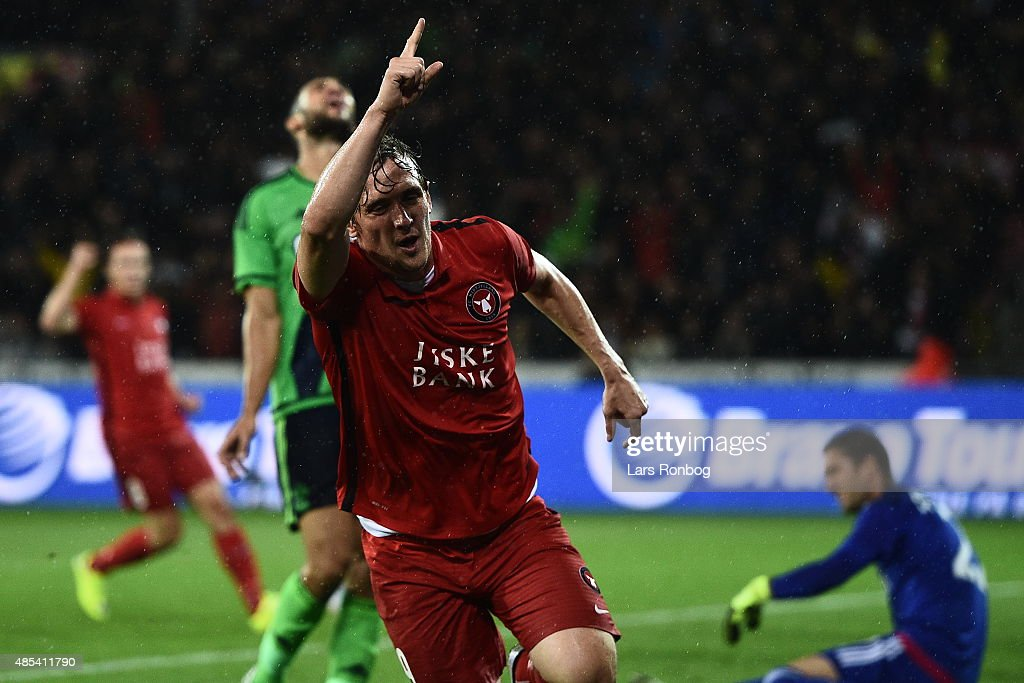 Morten Duncan Rasmussen of FC Midtjylland celebrates after scoring the 1-0 goal during the UEFA Europa League match between FC Midtjylland and Southampton FC at MCH Arena on August 27, 2015 in Herning, Denmark.
