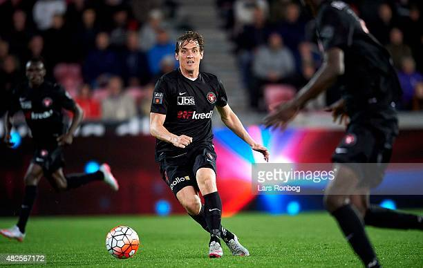 Morten Duncan Rasmussen of Midtjylland in action during the Danish Alka Superliga match between FC Midtjylland and OB Odense at MCH Arena on July 31...