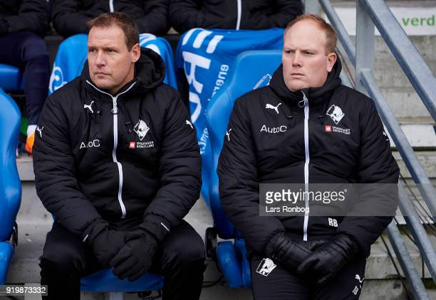 Morten Eskesen assistant coach of Randers FC and Rasmus Bertelsen head coach of Randers FC on the bench during the Danish Alka Superliga match...