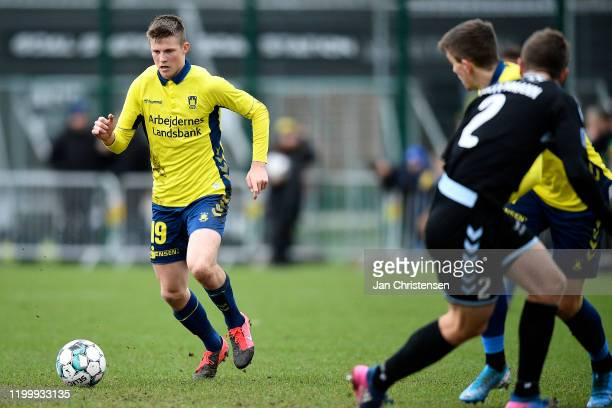 Morten Frendrup of Brondby IF in action during the testmatch between Brondby IF and SonderjyskE at Brondby Stadion on February 10, 2020 in Brondby,...