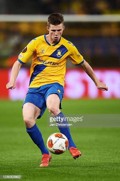 Morten Frendrup of Brondby IF in action during the UEFA Europa League match between Brondby IF and AC Sparta Praha at Brondby Stadion on September...