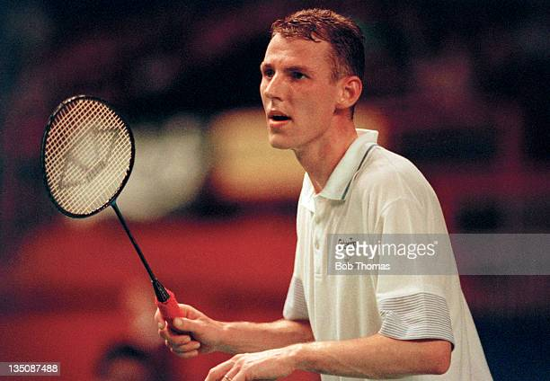 Morten Frost of Denmark during the All England Badminton Championships at Wembley Arena in London circa March 1990