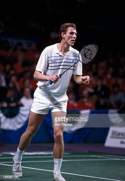 Morten Frost of Denmark in action during the All England Badminton Championships at Wembley Arena in London circa March 1985