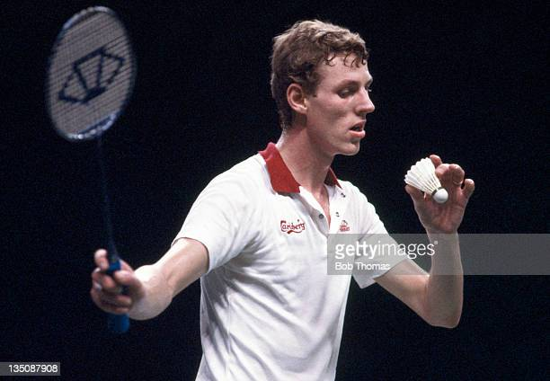 Morten Frost of Denmark in action during the All England Badminton Championships at Wembley Arena in London on 27th March 1983