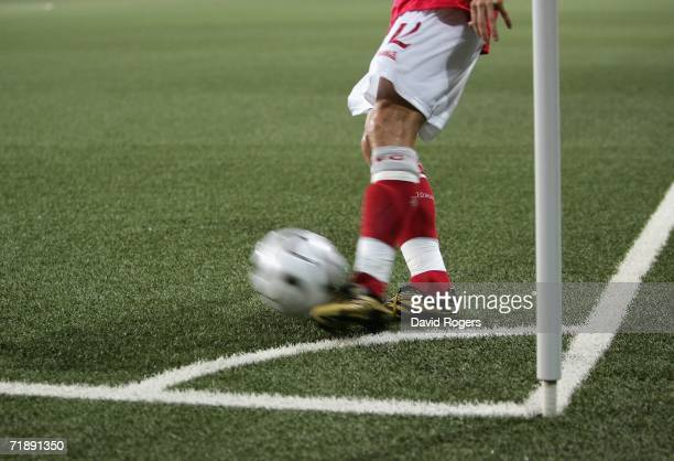 Morten Gamst Peddersen of the Blackburn Rovers takes a corner on the artificial surface during the UEFA Cup 1st Round, 1st Leg match against Red Bull...