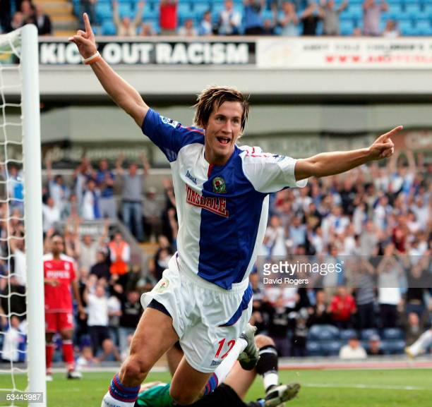 Morten Gamst Pedersen of Blackburn Rovers celebrates after scoring the first goal during the Barclays Premiership match between Blackburn Rovers and...