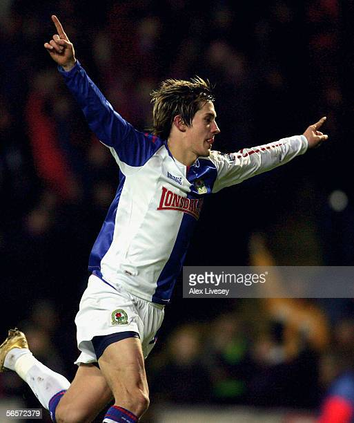 Morten Gamst Pedersen of Blackburn Rovers celebrates his goal during the Carling Cup Semi Final first leg match between Blackburn Rovers and...