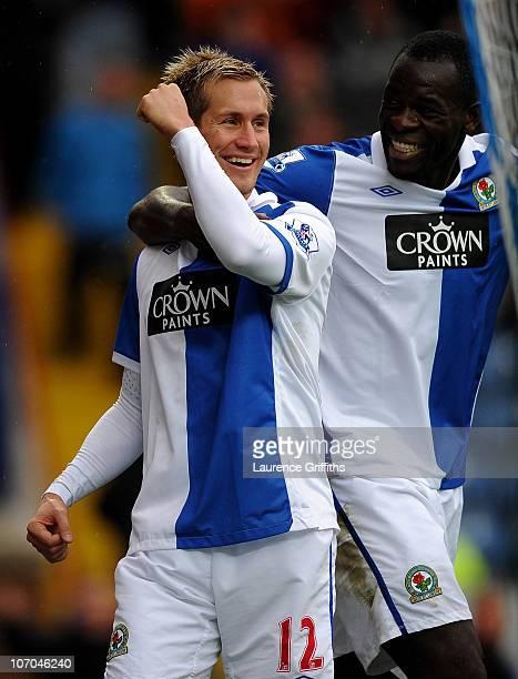 Morten Gamst Pedersen of Blackburn Rovers celebrates scoring his team's second goal with team mate Chris Samba during the Barclays Premier League...
