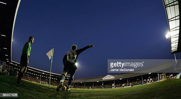 Morten Gamst Pedersen of Blackburn Rovers takes a corner for his team during the Barclays Premiership match between Fulham and Blackburn Rovers at...