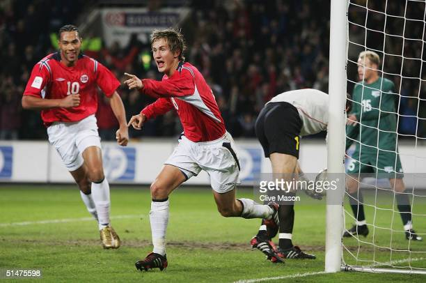 Morten Gamst Pedersen of Norway celebrates scoring during the FIFA World Cup qualifying group five match between Norway and Slovenia at The Ullevaal...