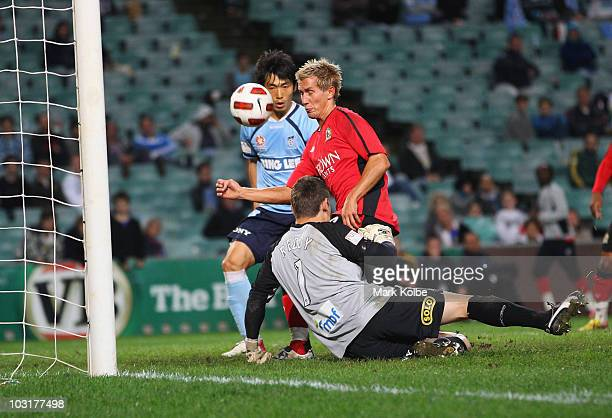 Morten Gamst Pedersen of Rovers scores a goal during the pre-season friendly match between Sydney FC and Blackburn Rovers at the Sydney Football...