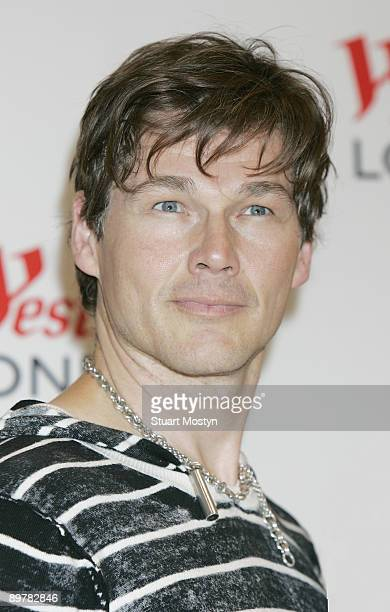 Morten Harket Norwegian pop band AHa poses backstage before performing a free accoustic show for fans at Westfield on July 28 2009 in London England