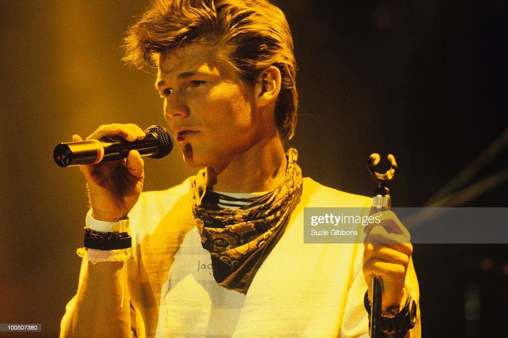 Morten Harket of Norwegian group A-ha performs on stage at the Montreux Rock Festival held in Montreux, Switzerland in May 1987.