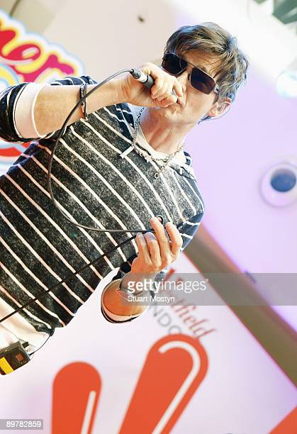 Morten Harket of Norwegian pop band AHa performs a free acoustic show for fans at Westfield on July 28 2009 in London England