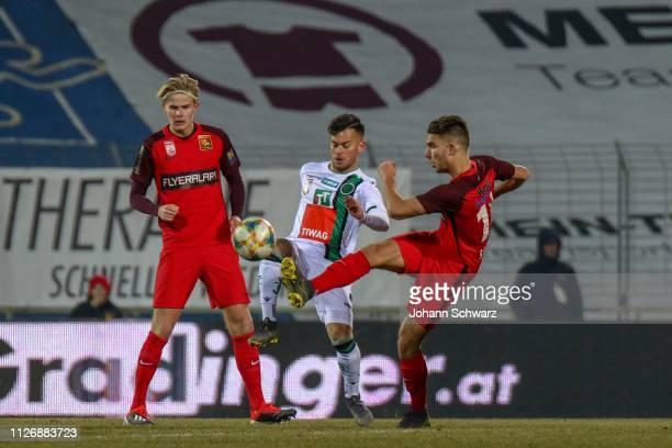 Morten Hjulmand of Admira Sascha Horvath of Innsbruck and Patrick Schmidt of Admira during the tipico Bundesliga match between FC Admira Wacker and...