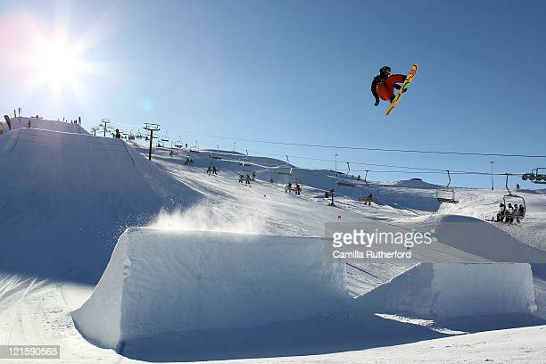 Morten Kleivdal of Norway competes in the Mens Snowboard Slopestyle Qualification during day nine of the Winter Games NZ at Snow Park on August 21...