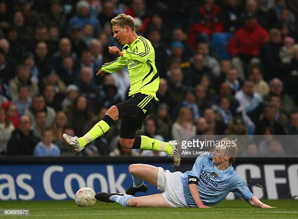 Morten Nielsen of Chelsea is tackled by Ben Mee of Manchester City during the FA Youth Cup Final 2nd Leg match between Manchester City and Chelsea at...