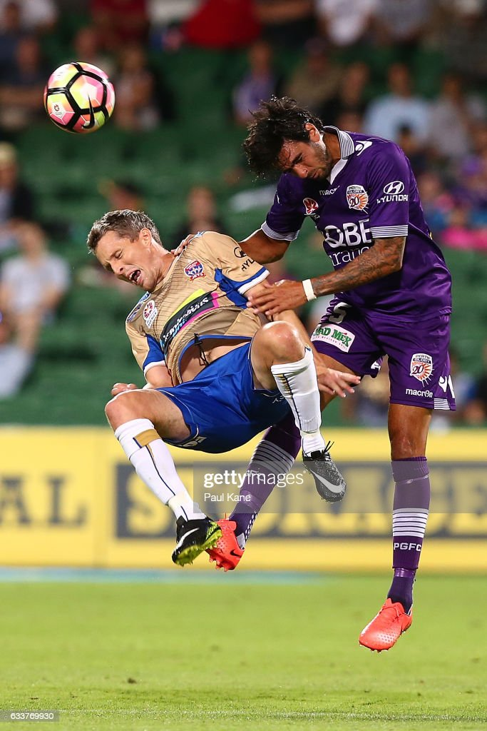 Morten Nordstrand of the Jets and Rhys Williams of the Glory contest for the ball during the round 18 A-League match between the Perth Glory and the Newcastle Jets at nib Stadium on February 4, 2017 in Perth, Australia.