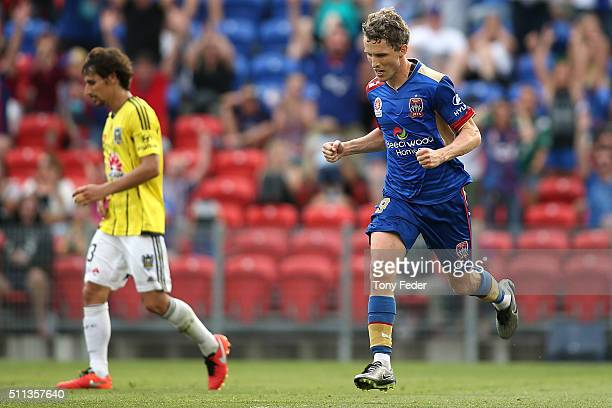 Morten Nordstrand of the Jets celebrates a goal during the round 20 A-League match between the Newcastle Jets and Wellington Phoenix at Hunter...