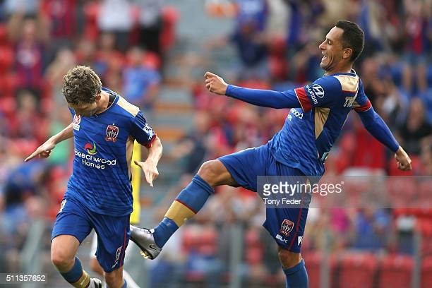 Morten Nordstrand of the Jets celebrates a goal with team mate Milos Trifunovic during the round 20 A-League match between the Newcastle Jets and...