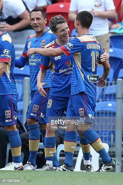 Morten Nordstrand of the Jets celebrates a goal with team mates during the round 20 A-League match between the Newcastle Jets and Wellington Phoenix...