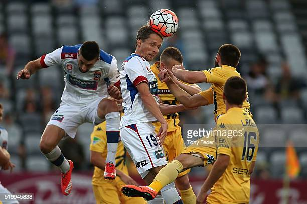 Morten Nordstrand of the Jets heads the ball during the round 27 ALeague match between the Central Coast Mariners and the Newcastle Jets at Central...