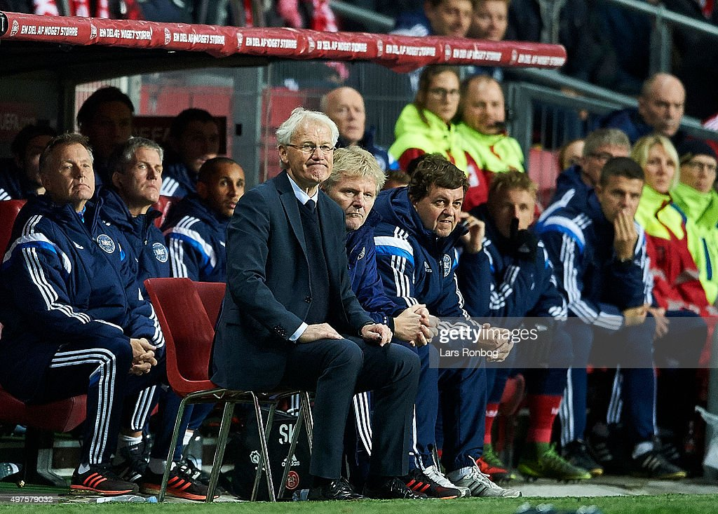 Morten Olsen, head coach of Denmark looks on from the bench during the UEFA EURO 2016 Qualifier: Play-Off Second Leg match between Denmark and Sweden at Telia Parken Stadium on November 17, 2015 in Copenhagen, Denmark.