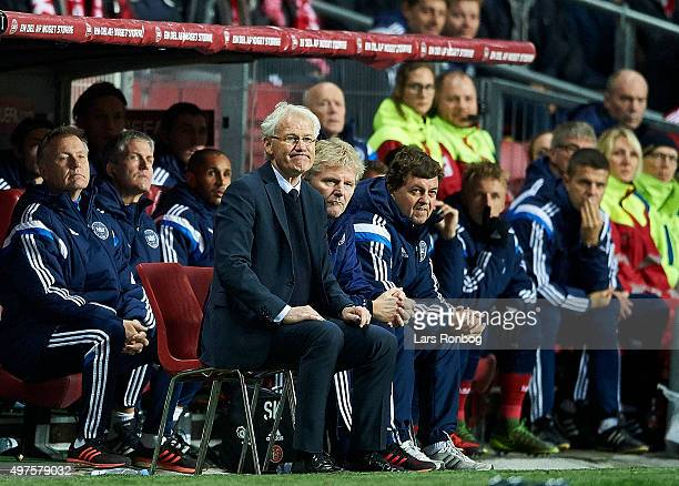 Morten Olsen head coach of Denmark looks on from the bench during the UEFA EURO 2016 Qualifier PlayOff Second Leg match between Denmark and Sweden at...