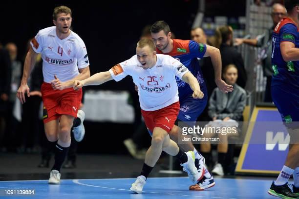 Morten Olsen of Denmark celebrate after goal during the IHF Men's World Championships Handball Final between Denmark and Norway in Jyske Bank Boxen...