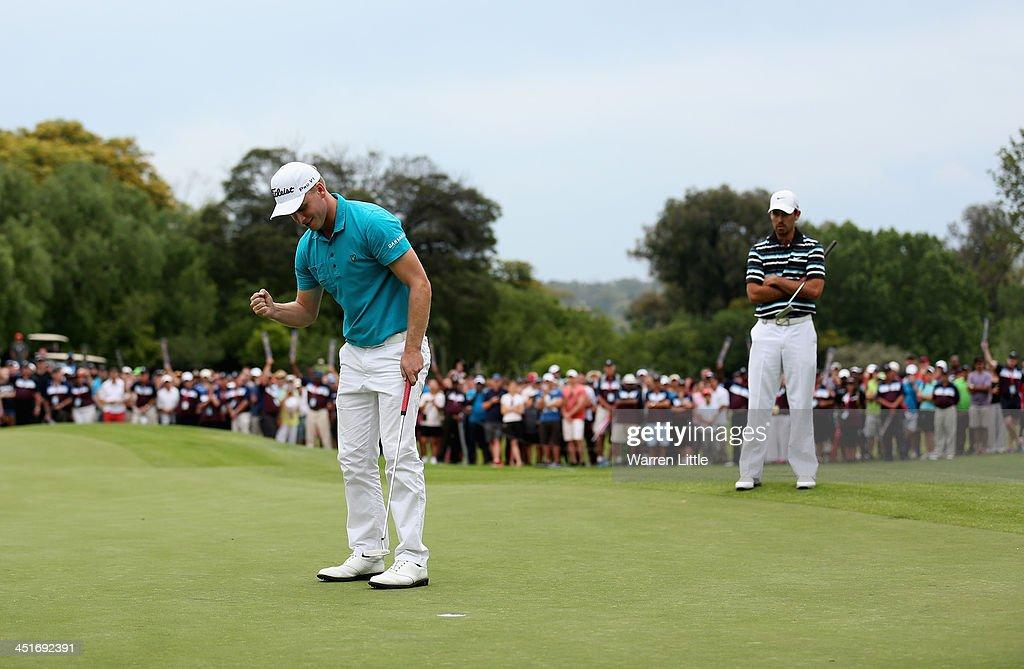 Morten Orum Madsen of Denmark celebrates after winning the South African Open Championship at Glendower Golf Clubon a score of -19 under par on November 24, 2013 in Johannesburg, South Africa.