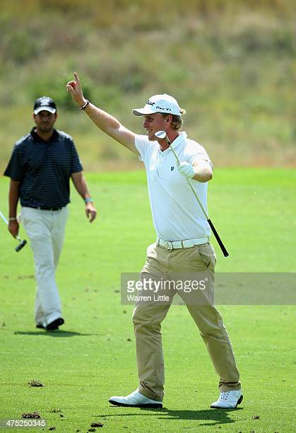 Morten Orum Madsen of Denmark celebrates making an eagle on the seventh hole during the first round of the Tshwane Open at Copperleaf Golf & Country...
