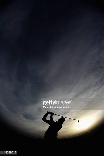 Morten Orum Madsen of Denmark warms up on the driving range prior to the Final Round of the Madeira Islands Open at Santo da Serra Golf Course on May...