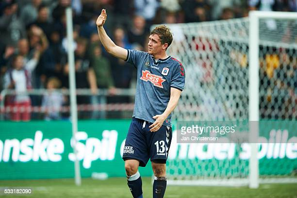 Morten Rasmussen of AGF Arhus celebrate after the Danish Alka Superliga match between FC Nordsjalland and AGF Arhus at Right to Dream Park on May 21...
