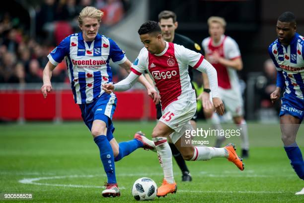 Morten Thorsby of sc Heerenveen Justin Kluivert of Ajax during the Dutch Eredivisie match between Ajax Amsterdam and sc Heerenveen at the Amsterdam...