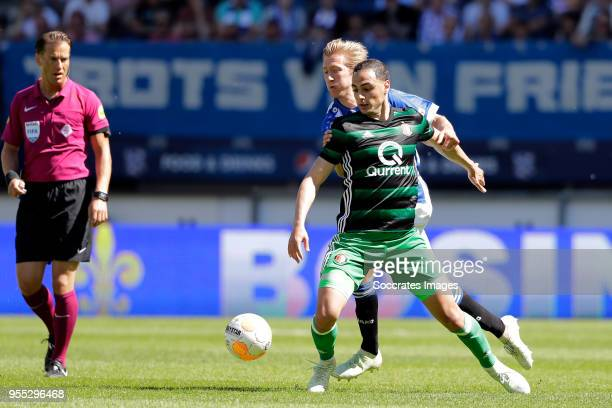 Morten Thorsby of SC Heerenveen Sofyan Amrabat of Feyenoord during the Dutch Eredivisie match between SC Heerenveen v Feyenoord at the Abe Lenstra...