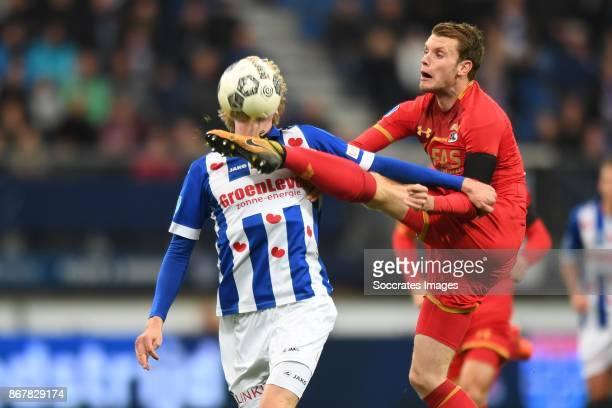 *Morten Thorsby* of SC Heerenveen *Thomas Ouwejan* of AZ Alkmaar during the Dutch Eredivisie match between SC Heerenveen v AZ Alkmaar at the Abe...