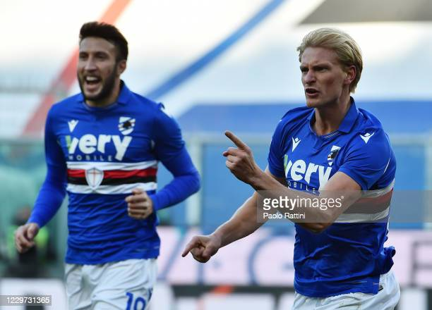 Morten Thorsby of UC Sampdoria celebrates with Vasco Regini after scoring during the Serie A match between UC Sampdoria and Bologna FC at Stadio...