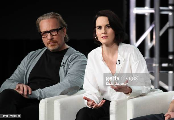 Morten Tyldum and Michelle Dockery of Defending Jacob speak onstage during the Apple TV segment of the 2020 Winter TCA Tour at The Langham Huntington...