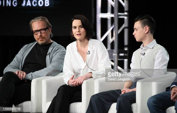 Morten Tyldum Michelle Dockery and Jaeden Martell of Defending Jacob speak onstage during the Apple TV segment of the 2020 Winter TCA Tour at The...