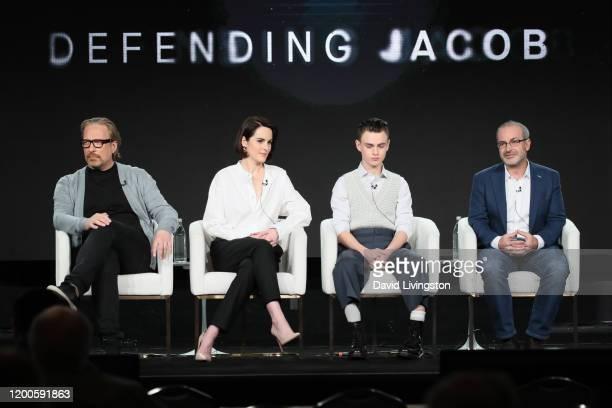 "Morten Tyldum, Michelle Dockery, Jaeden Martell and Mark Bomback of ""Defending Jacob"" speak onstage during the Apple TV+ segment of the 2020 Winter..."