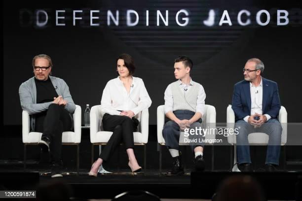 Morten Tyldum Michelle Dockery Jaeden Martell and Mark Bomback of Defending Jacob speak onstage during the Apple TV segment of the 2020 Winter TCA...