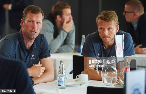 Morten Wieghorst head coach of AaB Aalborg and Rasmus Wurtz of AaB Aalborg during the Danish Alka Superliga media event at Brondby Stadion on August...