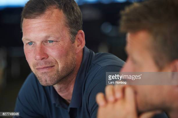 Morten Wieghorst head coach of AaB Aalborg during the Danish Alka Superliga media event at Brondby Stadion on August 8 2017 in Brondby Denmark