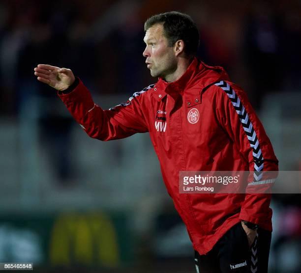 Morten Wieghorst head coach of AaB Aalborg gestures during the Danish Alka Superliga match between Randers FC and AaB Aalborg at BioNutria Park on...