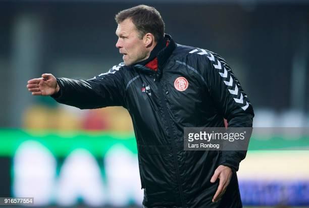 Morten Wieghorst head coach of AaB Aalborg gestures during the Danish Alka Superliga match between Silkeborg IF and AaB Aalborg at Jysk Park on...