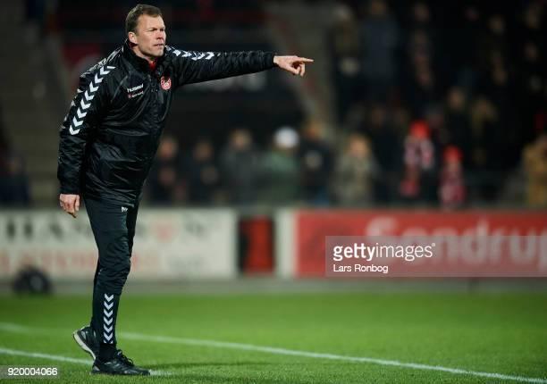 Morten Wieghorst head coach of AaB Aalborg gestures during the Danish Alka Superliga match between AaB Aalborg and Brondby IF at Aalborg Portland...