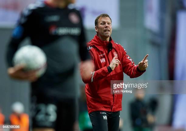 Morten Wieghorst head coach of AaB Aalborg gestures during the Danish Alka Superliga match between FC Copenhagen and AaB Aalborg at Telia Parken...