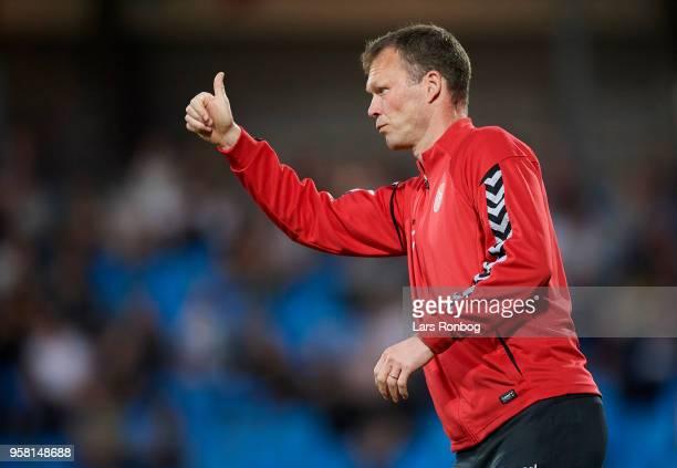 Morten Wieghorst head coach of AaB Aalborg gestures during the Danish Alka Superliga match between AaB Aalborg and FC Copenhagen at Aalborg Portland...