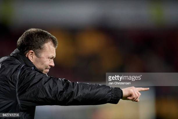 Morten Wieghorst head coach of AaB Aalborg gives instructions during the Danish Alka Superliga match between FC Nordsjalland and AaB Aalborg at Right...