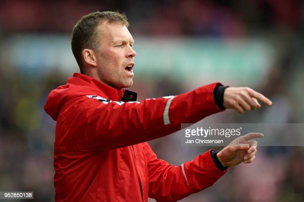 Morten Wieghorst head coach of AaB Aalborg gives instructions during the Danish Alka Superliga match between FC Midtjylland and AaB Aalborg at MCH...